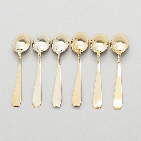 A set of six enamelled, gilt silver espresso spoons, tillander, helsinki 1955-56.