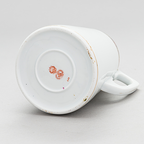 A gardner porcelain pitcher, moscow, russia 1880s-90s.