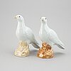 A pair of white glazed doves, qing dynasty, 20th century.