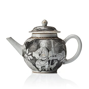 812. A grisaille and gold tea pot with cover, Qing dynasty, Qianlong (1736-95).