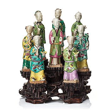 813. A group of eight immortals on  wooden stand, Qing dynasty, 19th Century.