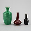 A group of three monocrome vases, late qingdynasty/20th century.