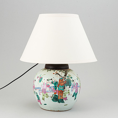 A famille rose jar, turned into a table lamp, qing dynasty, late 19th/ early 20th century.