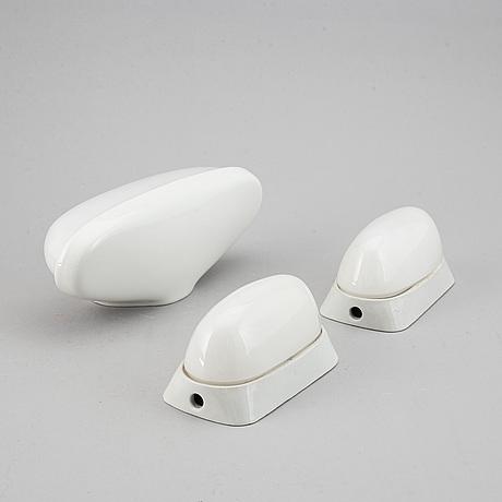 Wilhelm wagenfeld, three ceramic wall lights, lindner keramik, bamberg, 1950's/60's.