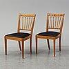 A set of six mahogany and rattan dining chairs, josef frank, , model 1165, svenskt tenn, stockholm.
