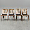A set of four mahogany and rattan dining chairs, josef frank, , model 1165, svenskt tenn, stockholm.