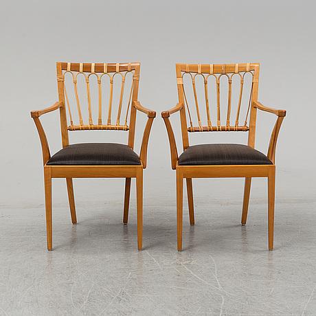 Josef frank, a pair of chairs, model 1165, svenskt tenn, sweden.