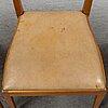 A set of three mahogany and rattan dining chairs, josef frank, model 1165, svenskt tenn, stockholm.