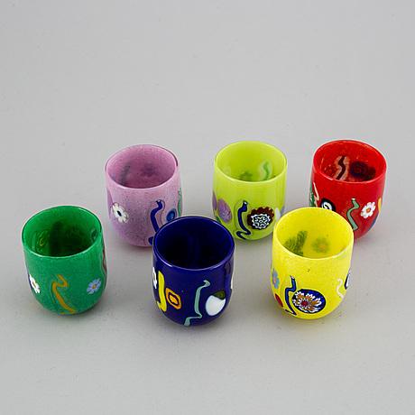 "A set of six ""goto"" glasses/candleholders, murano, venice, 1990- 2000."