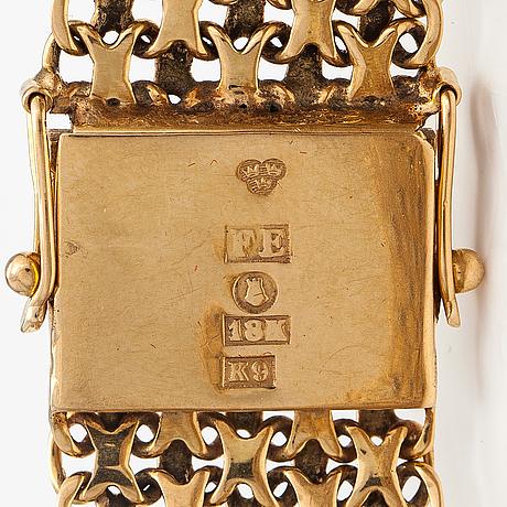 Armband, 18k guld. esto ab guldvarufirman, stockholm 1980.