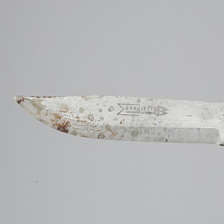 A sami reindeer horn knife, unidentified signature.