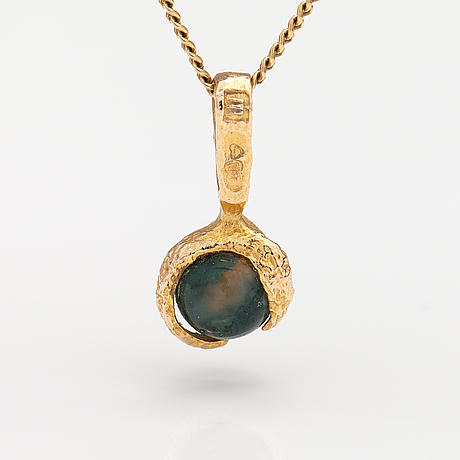 "Björn weckström, a 14k gold necklace ""moss gold"" with a moss agate. lapponia 1983."