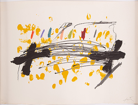 Antoni tÀpies, lithograph in colors, signed and numbered hc.