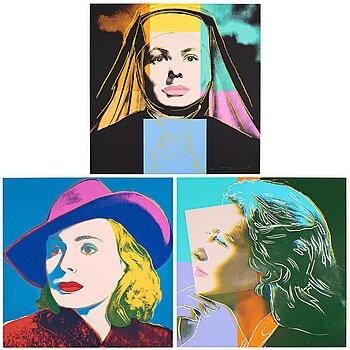 "392. Andy Warhol, ""Three portraits of Ingrid Bergman by Andy Warhol""."