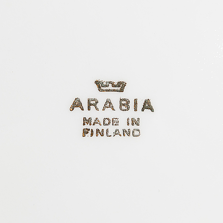 "Kyllikki salmenhaara, a 13-piece ""stella"" porcelain coffee set, decor by raija uosikkinen, arabia 1957-1970."