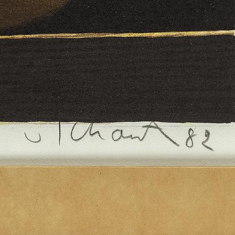 Philip von schantz, litograph. signed. dated. image 19 x 23.5 cm.
