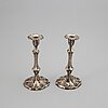 A pair of silver candlesticks, mark of gustaf möllenborg, stockholm 1856.
