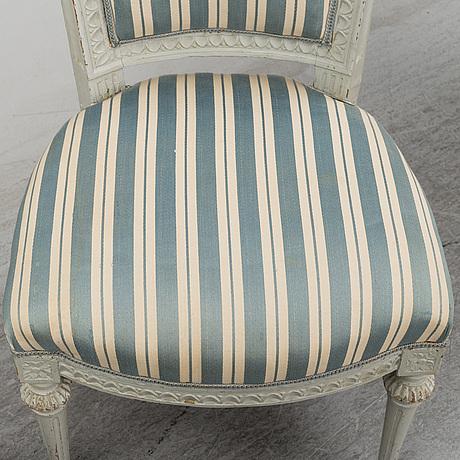 Six (3+2+1) late 18th century gustavian chairs.
