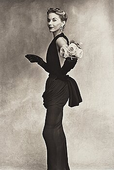 """325. Irving Penn, """"Woman with Roses on Her Arm (Lisa Fonssagrives-Penn in Lafaurie Dress)"""", 1950."""