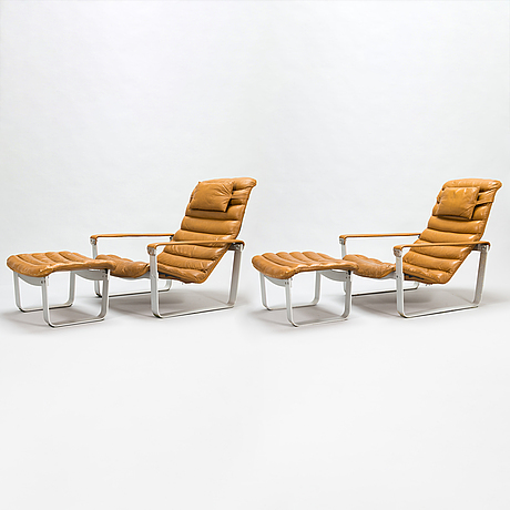 Ilmari lappalainen, a pair of 'pulkka' lounge chairs with ottomans for , asko, finland.