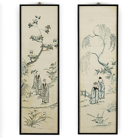 A pair of chinese silk panels, 20th century.