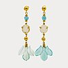 Earrings 18k gold and chalcedony, length approx 6 cm.