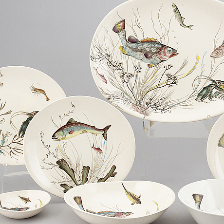 A part 'fish' earthenware dinner service, johnson bros, england (74 pieces).