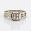 Ring  14k whitegold with 4 + 6 princess-cut diamonds approx 0,70 ct.
