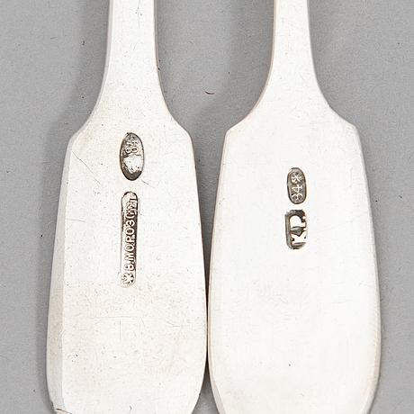 12-pcs set of silver cutlery, maker's marks of morozov, relander, reijonen and järveläinen, saint petersburg 1845-1917.