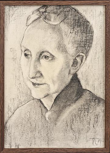 Tora vega holmstrÖm, chalk on canvas signed.