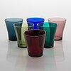 Six 1950's drinkin glasses by riihimäen lasi.