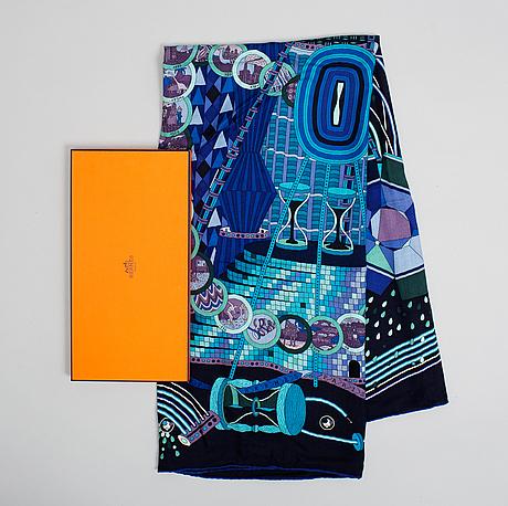 Hermès, shawl, 'le laboratoire du temps'.