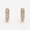 A pair of 14k gold earrings with diamonds ca. 0.08 ct in total.