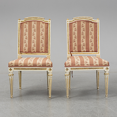 A pair of late gustavian armchairs by johan lindgren (1770-1800) stockholm.