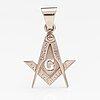 An 18k white gold freemason pendant.