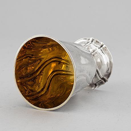 A mid 18th century parcel-gilt silver beaker, marked kronstadt.
