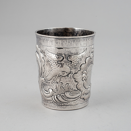 A russian 18th century silevr beaker, unidentified makers mark, moscow 1777.