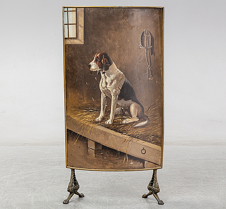 A 19th century brass fire shield decorated with paint of hunting dog setter in the stable.