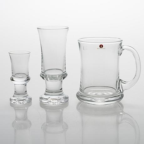 "A 18-piece ""tavastia"" glassware set by tapio wirkkala, iittala 1970s."