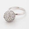 18k white gold brilliant-cut diamond ball ring.