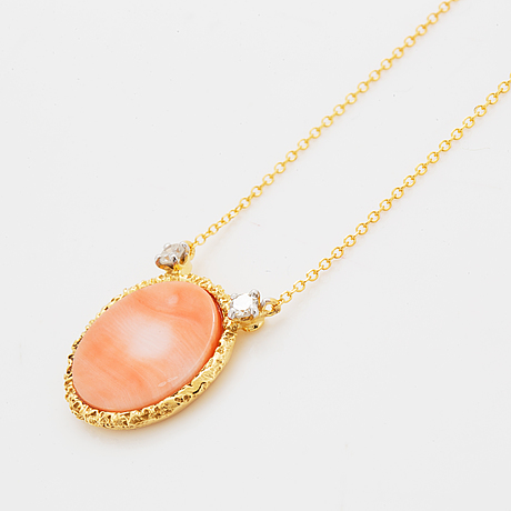 18k gold eight-cut diamond and coral pendant.