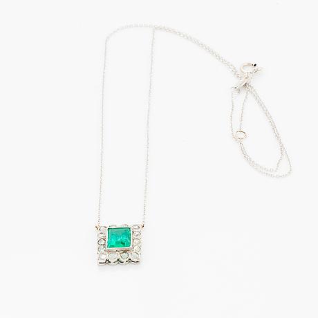 Emerald and rose-cut diamond pendant.