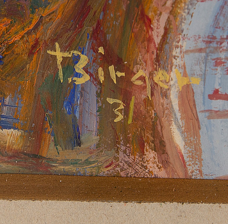 Birger birger-ericson, mixed media, signed birger and dated -31.
