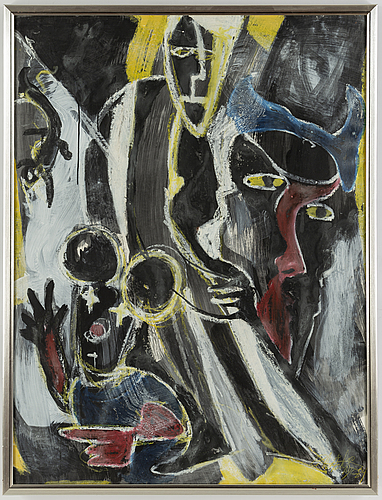 Peter ÅstrÖm, mixed media on paper, signed and dated -84.