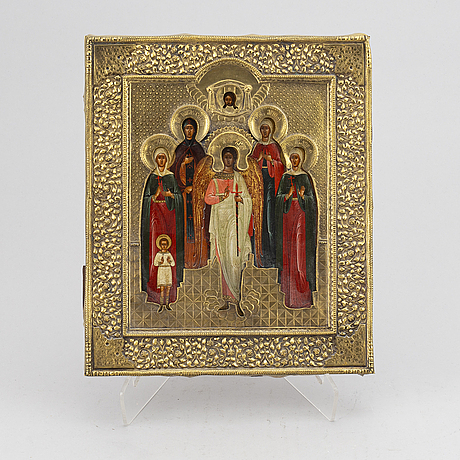 A russian icon with brass ochlas, 19th century.