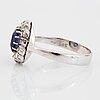 Ring, carmoséring med safir och rosenslipade diamanter.