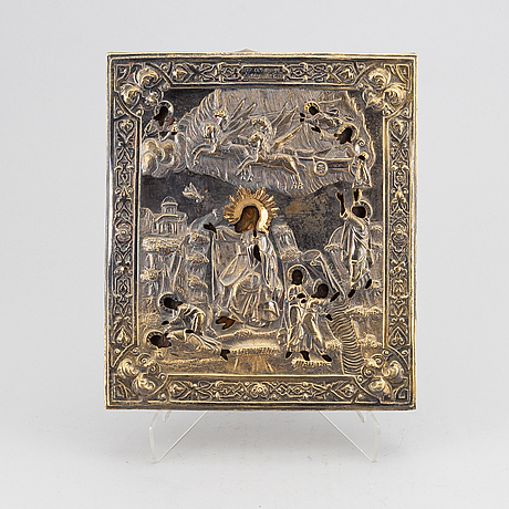 A russian icon with ochlad, 19th century.