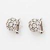 18k white gold diamond ball earrings.