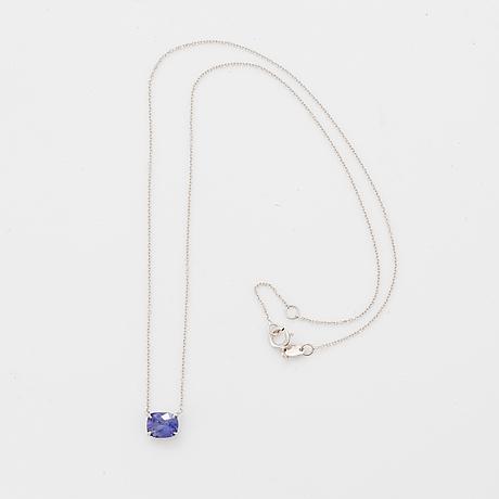 18k white gold sapphire pendant 1,16 ct, cert ggtl.