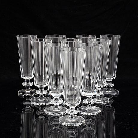 "Elis bergh, champagneglas 10 st, ""karlberg"". kosta, 1900-talets andra hälft."
